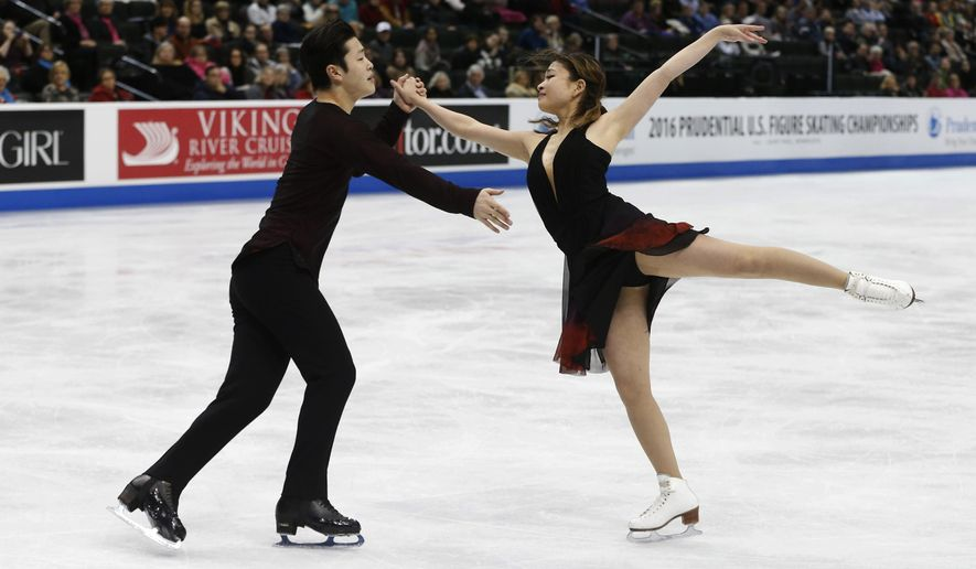 Maia Shibutani and Alex Shibutani perform in the free dance final of the U.S. Figure Skating Championships, Saturday, Jan. 23, 2016, in St. Paul, Minn. They won the gold. (AP Photo/Jim Mone)