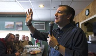 In this Jan. 19, 2016, photo, Republican presidential candidate, Sen. Ted Cruz, R-Texas speaks during a campaign stop at Lino's Restaurant in Sanbornville, N.H. Cruz is dreaming of a face-off with Democratic front-runner Hillary Clinton, even before the first primary votes are cast. He warns his supporters about what he thinks America will look like under a Clinton administration, predicting a nuclear-armed Iran, amnesty for millions of people in America illegally and the continuation of President Barack Obama's health care law.(AP Photo/John Minchillo)