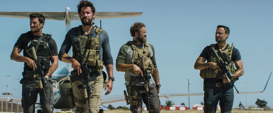 "Military contractors are depicted as heroes in ""13 Hours: The Secret Soldiers of Benghazi."" (Associated Press/File)"