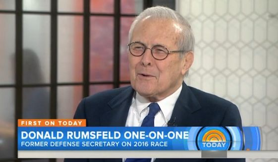 """Former Defense Secretary Donald Rumsfeld weighed in on the presidential race Monday, saying it's clear that GOP front-runner Donald Trump has stirred something in the American people, causing them to """"respond in a way that most politicians have not been able to do."""" (Today)"""