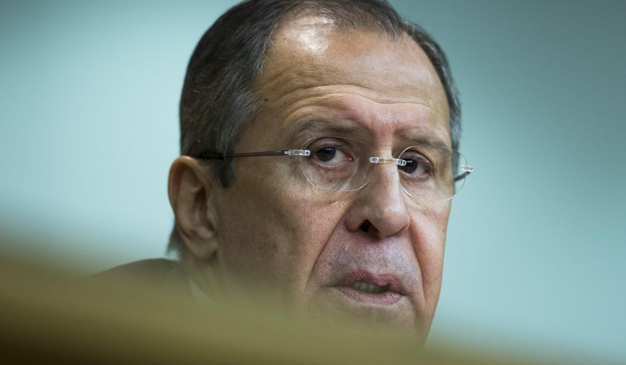 "Russian Foreign Minister Sergey Lavrov speaks during his annual news conference in Moscow, Tuesday, Jan. 26, 2016. Russia on Tuesday argued strongly against Turkey's demand to keep a leading Kurdish group out of Syria's peace talks, and said it expects the U.N. envoy to resist what he called ""blackmail"" by Turkey and others, reflecting sharp differences that remain ahead of the scheduled talks. (AP Photo/Ivan Sekretarev)"