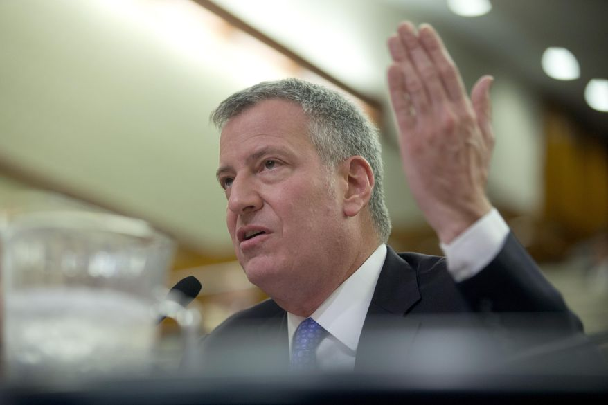 New York City Mayor Bill de Blasio testifies during a joint legislative hearing on local government on Tuesday, Jan. 26, 2016, in Albany, N.Y. (AP Photo/Mike Groll)