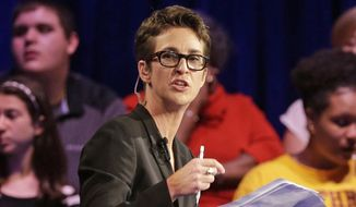 MSNBC's Rachel Maddow speaks during a Democratic presidential candidate forum at Winthrop University in Rock Hill, S.C., Nov. 6, 2015. (AP Photo/Chuck Burton) ** FILE **
