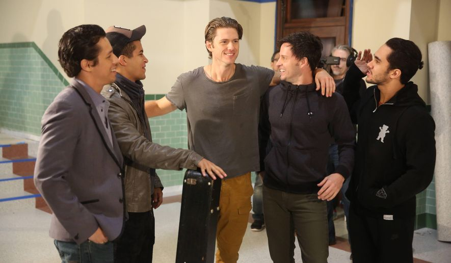 "This image released by Fox shows, from left, David Del Rio, Jordan Fisher, Aaron Tveit, Aaron Call, and Carlos PenaVega during a rehearsal for, ""Grease:Live,"" airing Sunday, Jan. 31, at 7p.m. (Kevin Estrada/FOX via AP)"