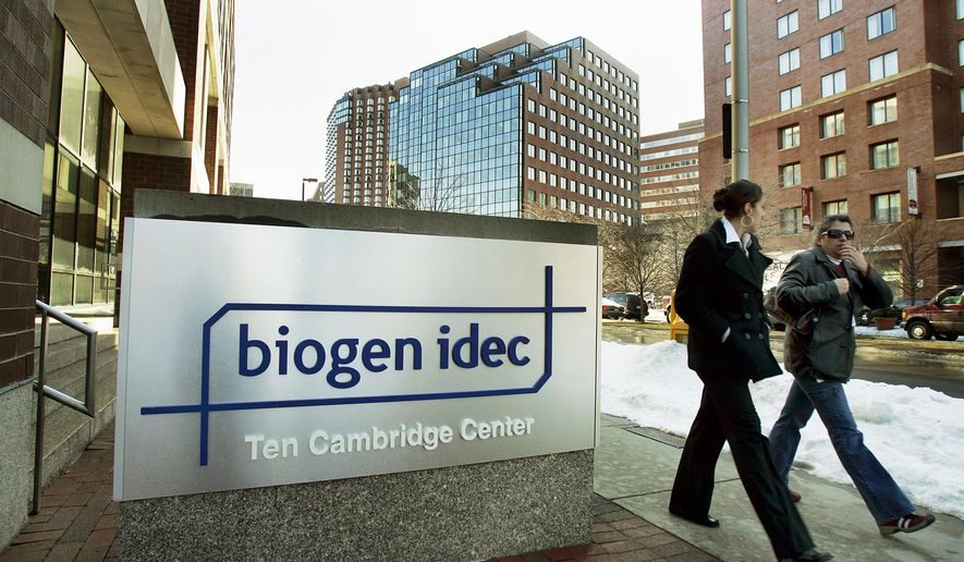 FILE - In this Feb. 15, 2006, file photo, two women walk by Biogen Idec corporate headquarters in Cambridge, Mass. Biogen reports financial earnings Wednesday, Jan. 27, 2016. (AP Photo/Elise Amendola, File)