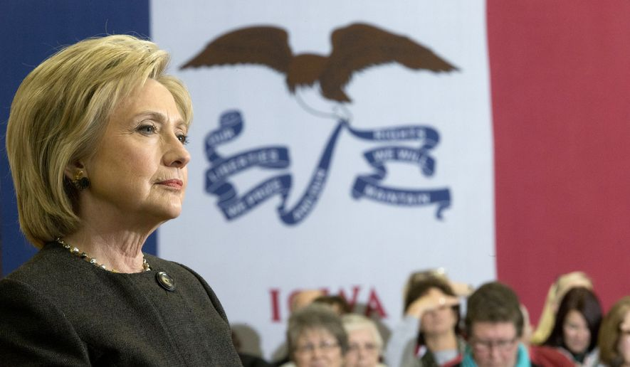 Democratic presidential candidate Hillary Clinton takes a question from a member of the audience during a campaign event at the Knoxville School District Administration Office, Monday, Jan. 25, 2016, in Knoxville, Iowa. (AP Photo/Mary Altaffer)