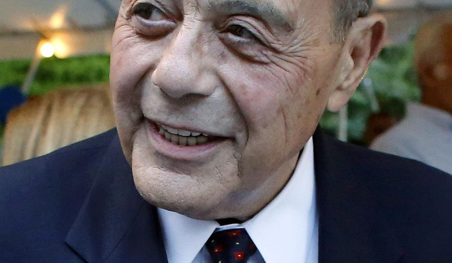 FILE - In this Sept. 10, 2014, file photo, former Providence Mayor Buddy Cianci attends a campaign fundraising event in Providence, R.I.  The former mayor was hospitalized Wednesday, Jan. 27, 2016 after experiencing severe stomach pains. Cianci died Thursday, Jan. 28, in Providence. He was 74. (AP Photo/Steven Senne, File)