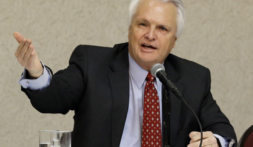 Lt. Gov. Ron Ramsey, R-Blountville, answers questions at the Tennessee Press Association convention, Thursday, Jan. 28, 2016, in Nashville, Tenn. (AP Photo/Mark Humphrey)