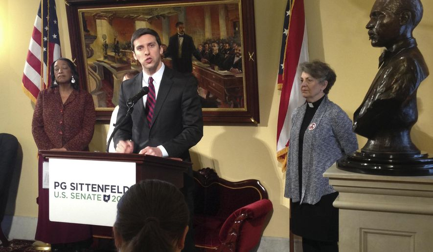 Democratic U.S. Senate candidate P.G. Sittenfeld and gun control advocates discuss the launch of a ballot effort that would restore control over guns to Ohio cities during a news conference in the Ohio Statehouse on Thursday, Jan. 28, 2016 in Columbus, Ohio. Sittenfeld, a Cincinnati city councilman, announced Thursday, that he's joining forces with gun control groups to push an amendment to Ohio's Constitution as soon as this fall that would to restore home-rule rights to cities so they can pass and enforce their own gun laws. (AP Photo/Julie Carr Smyth)