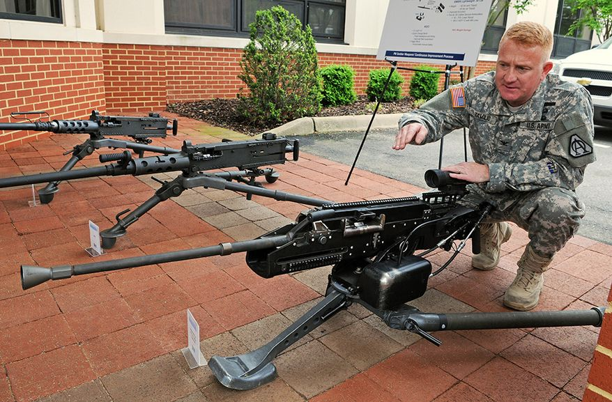 """ARMY and MARINES -  M2 Machine Gun or Browning .50 Caliber Machine Gun is a heavy machine gun designed towards the end of World War I by John Browning. Its design is similar to Browning's earlier M1919 Browning machine gun, which was chambered for the .30-06 cartridge. The M2 uses the much larger and much more powerful .50 BMG cartridge, which was developed alongside and takes its name from the gun itself (BMG standing for Browning Machine Gun). It has been referred to as """"Ma Deuce"""", in reference to its M2 nomenclature. The design has had many specific designations; the official designation for the current infantry type is Browning Machine Gun, Cal. .50, M2, HB, Flexible. It is effective against infantry, unarmored or lightly armored vehicles and boats, light fortifications and low-flying aircraft. The M2 machine gun has been produced longer than any other machine gun. The Browning .50 caliber machine gun has been used extensively as a vehicle weapon and for aircraft armament by the United States from the 1930s to the present. It was heavily used during World War II, the Korean War, the Vietnam War, the Falklands War, the Iraq War and the War in Afghanistan in the 2000s and 2010s. It is the primary heavy machine gun of NATO countries, and has been used by many other countries. The M2 has been in use longer than any other small arm in U.S. inventory except the .45 ACP M1911 pistol, also designed by John Browning."""