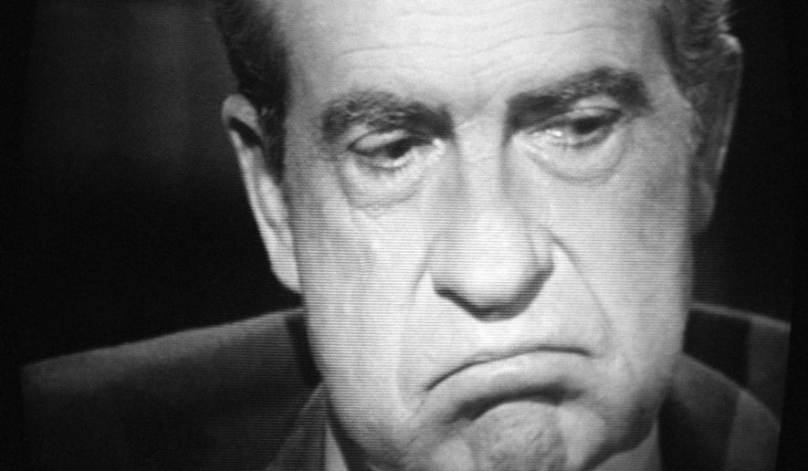 Former President Richard M. Nixon, exhibited this expression, Wednesday, May 4, 1977 of paid-for interview  with  David Frost. Nixon conceded that he let his friends, the nation, and our ??Systems of government? Down, but emphasized that he had not committed an impeachable offenses in his own view, in the Watergate coverup. (AP Photo/WNEW TV/Ray Stubblebine)