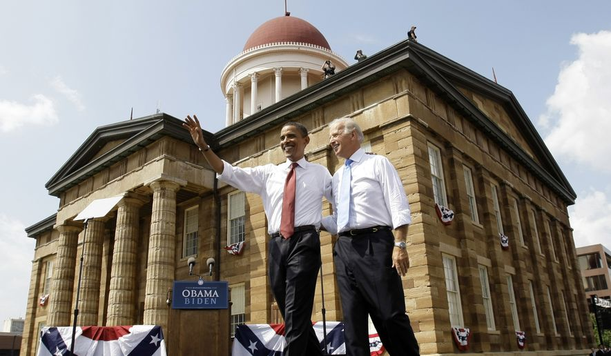 In this photo from Aug. 23, 2008, then-Democratic presidential candidate Sen. Barack Obama, D-Ill. and his vice presidential running mate Sen. Joe Biden, D-Del., wave at a rally in front of the Old State Capitol in Springfield, Ill. The building is historic for its connection to a famous Republican, former President Abraham Lincoln, who once serve there as a lawmaker. Obama launched his successful presidential campaign there in February 2007 and later introduced his running mate. And Obama has quoted Lincoln in speech after speech as he campaigned, associating himself with one of America's greatest presidents whether the subject was patriotism or faith or veterans. (Associated Press) **FILE**