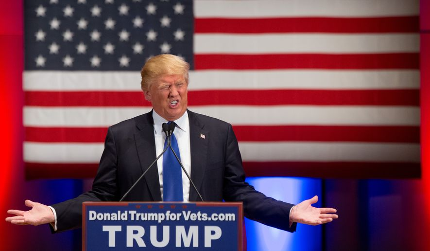 Republican presidential candidate Donald Trump speaks at a rally at Drake University in Des Moines, Iowa, Thursday, Jan. 28, 2016. (AP Photo/Andrew Harnik)
