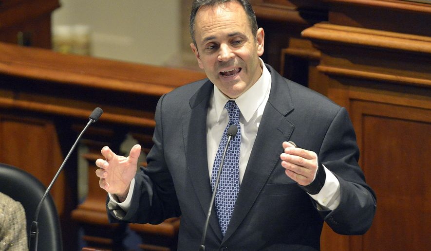 Republican Gov. Matt Bevin delivers his budget before a joint legislative session in the House Chambers at the Kentucky State Capitol, Tuesday, Jan. 26, 2016, in Frankfort, Ky. Bevin's first budget won't take effect until July 1, but the new governor is not waiting to slash government spending. (AP Photo/Timothy D. Easley)
