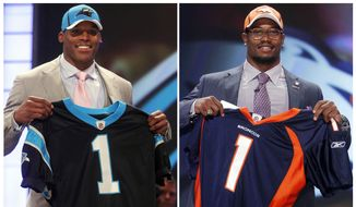 FILE - In these April 28, 2011, file photos, Auburn quarterback Cam Newton, left, the No. 1 pick overall selected by the Carolina Panthers, and Texas A&M linebacker Von Miller, the second overall pick selected by the Denver Broncos, hold up jerseys at the NFL football draft at Radio City Music Hall in New York. Five years later we have the first-ever matchup of No. 1 vs. No. 2 in the Super Bowl.  (AP Photo/Jason DeCrow, File)