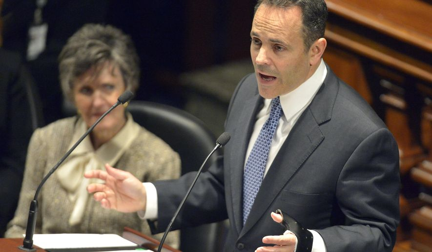"FILE - In this Tuesday, Jan. 26, 2016 file photo, Republican Gov. Matt Bevin delivers his budget before a joint legislative session in the House Chambers at the Kentucky State Capitol, in Frankfort, Ky. Kentucky Gov. Matt Bevin wants state colleges and universities to produce more electrical engineers and less French literature scholars. There just will,"" Bevin told reporters this Tuesday, Jan 26, 2016, when announcing his two-year state spending proposal (AP Photo/Timothy D. Easley, File)"