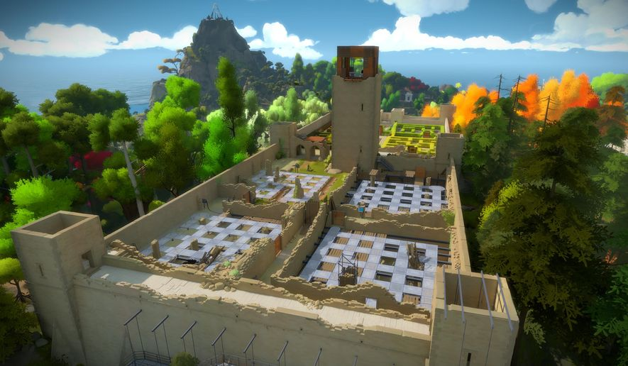 "This image released by Thekla Inc. shows a scene from ""The Witness,"" a video game set in a mysterious island with hundreds of puzzles. (Thekla Inc. via AP)"