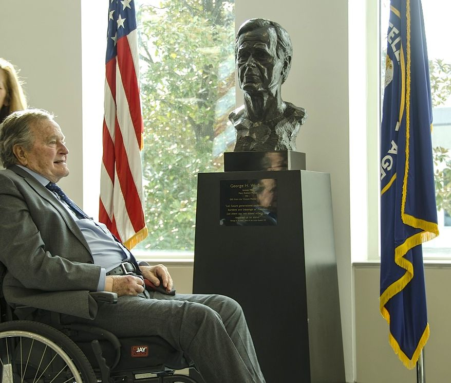 Former President George H.W. Bush visited the CIA on Friday to mark the 40th anniversary of his swearing in as the Agency's director in 1976. (CIA)