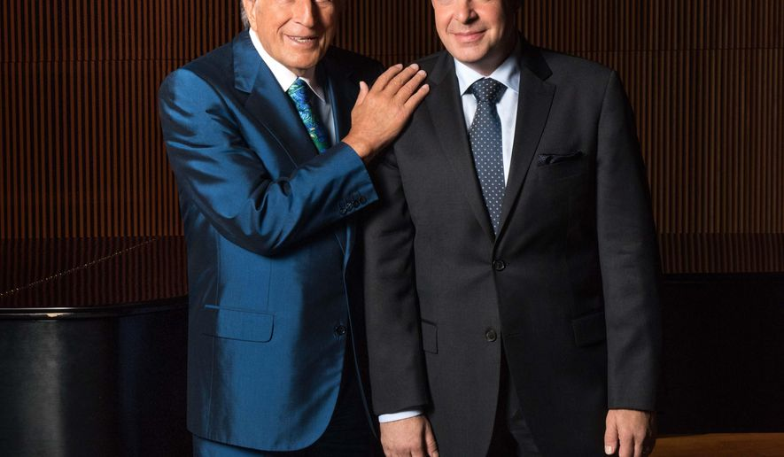 "This August 2015 photo released by Sony Music shows Tony Bennett, left, with pianist Bill Charlap in New York. Bennett is nominated for best traditional pop vocal album for ""The Silver Lining: The Songs of Jerome Kern.""  (Kelsey Bennett/Sony Music via AP)"