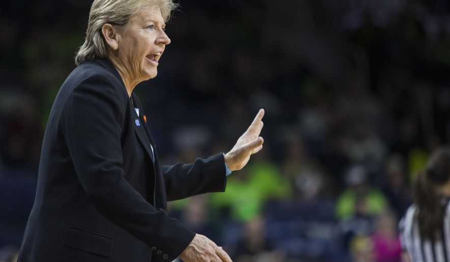FILE - In this Jan. 10, 2016, file photo, North Carolina coach Sylvia Hatchell talks to players during the first half of an NCAA college basketball game against Notre Dame in South Bend, Ind. Hatchell has been suspended for two games for making contact with an official during a recent loss to Duke and for an NCAA violation. (AP Photo/Robert Franklin, File)
