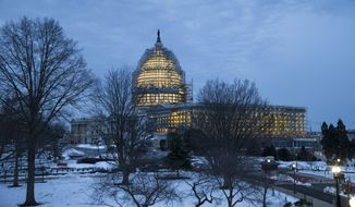 Work lights illuminate scaffolding around the Senate and the Capitol Dome, part of a long-term repair project, in Washington, Wednesday, Jan. 27, 2016. As the federal government slowly returns to work following last weekend's crippling snowfall, the Senate will open, but the House of Representatives has decided to stay closed for the week.   (AP Photo/J. Scott Applewhite)