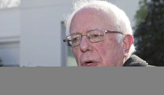 Democratic presidential candidate Sen. Bernie Sanders, I-Vt., speaks to reporters at the White House in Washington, Wednesday, Jan. 27, 2016, following a meeting with President Barack Obama.  (AP Photo/Manuel Balce Ceneta)