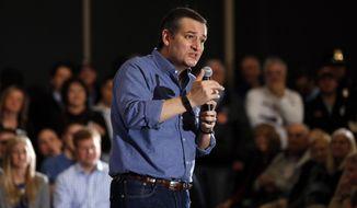 Republican presidential candidate, Sen. Ted Cruz, R-Texas, speaks Wednesday, Jan. 27, 2016, in West Des Moines, Iowa. (AP Photo/Paul Sancya)