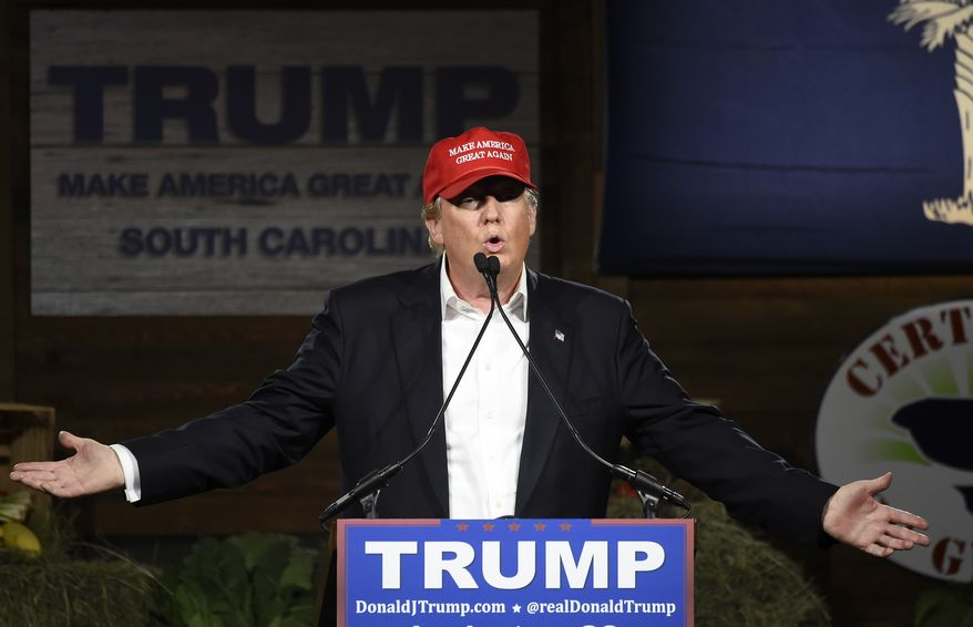 Republican presidential candidate Donald Trump speaks during a campaign stop on Wednesday, Jan. 27, 2016, in Gilbert, S.C. (AP Photo/Rainier Ehrhardt)