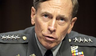 FILE - In this June 23, 2011 file photo, then-CIA Director-desigate Gen. David Petraeus testifies on Capitol Hill in Washington.  The Pentagon says it will not demote retired Army Gen. David Petraeus, who pleaded guilty to a misdemeanor charge of mishandling classified information while CIA director, an incident stemming from an affair with his biographer.   (AP Photo/Cliff Owen, File)