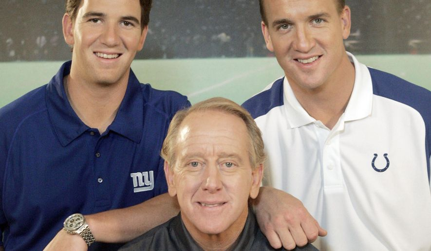 FILE - In this May 8, 2008, file photo, Archie Manning, center, is joined by his sons Eli Manning, left, and Peyton Manning after the taping of a commercial in Beverly Hills, Calif. Archie speaks deliberately and carefully when addressing whether his 39-year-old son, Peyton, might be playing his final NFL game when he returns to the Super Bowl on Feb. 7, 2016. Archie and his other NFL quarterback son, Eli, are clear about one thing, though; they are proud of the way Peyton overcame new challenges in the twilight of his career. (AP Photo/Reed Saxon, File)
