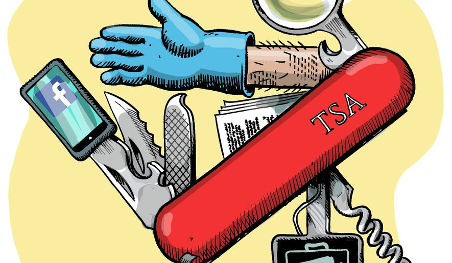 Illustration on the expanding TSA by Alexander Hunter/The Washington Times