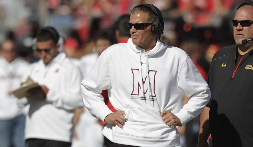 Maryland head coach Randy Edsall on the sidelines against Ohio State in an NCAA college football game Saturday, Oct. 10, 2015, in Columbus, Ohio. (AP Photo/Jay LaPrete)