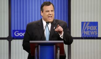 Chris Christie argues a point during a Republican presidential primary debate, Thursday, Jan. 28, 2016, in Des Moines, Iowa. (AP Photo/Chris Carlson) ** FILE **