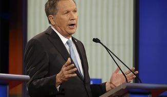 John Kasich speaks during a Republican presidential primary debate, Thursday, Jan. 28, 2016, in Des Moines, Iowa. (AP Photo/Chris Carlson)