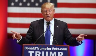 Republican presidential candidate Donald Trump speaks at a event at Drake University in Des Moines, Iowa, on Jan. 28. (Associated Press)