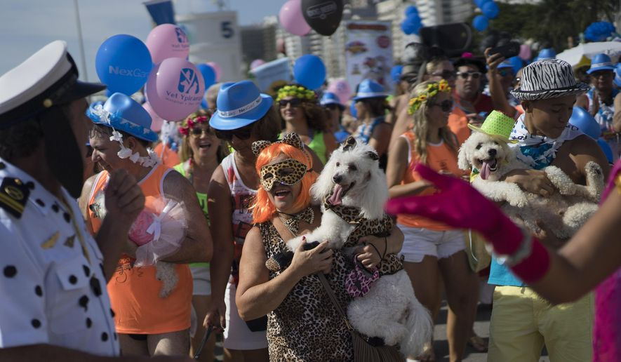 Pet owners hold their dogs which they dressed up in carnival costumes for a pet parade in Rio de Janeiro, Brazil, Sunday, Jan. 31, 2016. People dressed up their pets for the annual carnival block party held near Copacabana beach. (AP Photo/Leo Correa)