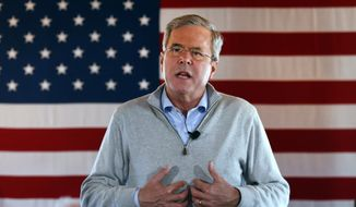 In this Jan. 29, 2016, photo, Republican presidential candidate, former Florida Gov. Jeb Bush speaks during a campaign event at Greasewood Flats Ranch in Carroll, Iowa. Money may be growing tight for four Republican presidential hopefuls clustered under Donald Trump and Ted Cruz, just when they're about to need it the most. Financial reports coming out Jan. 31 will reveal who began the year with enough cash to put their long-range campaign plans into motion. For Chris Christie, Bush and John Kasich, the aim is a strong showing in New Hampshire on Feb. 9 that power boosts them deep into primary season. Marco Rubio's imperative is to do well enough in the first four states to vote that he can make a sustained climb in the weeks that follow. (AP Photo/Paul Sancya)