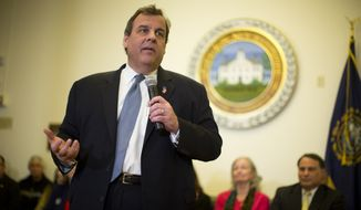 """""""We made a mistake seven years ago; we can't afford to make another one. If we do, we won't recognize this country,"""" New Jersey Gov. Chris Christie told a crowd at the Hopkinton (N.H.) Town Hall. """"For the next eight days, you are the most powerful people in the world."""" (Associated Press)"""