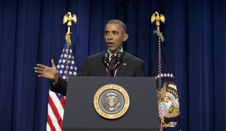 President Barack Obama speaks in the South Court Auditorium in the Eisenhower Executive Office Building on the White House complex in Washington, Friday, Jan. 29, 2016, during a ceremony to commemorate the 7th Anniversary of the Signing of the Lilly Ledbetter Fair Pay Act.  (AP Photo/Carolyn Kaster) ** FILE **