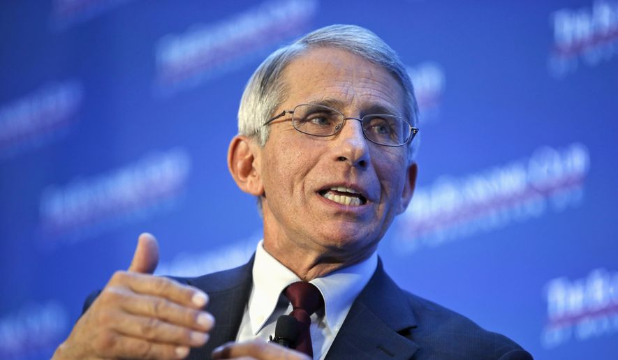 Dr. Anthony Fauci, director of the National Institute of Allergy and Infectious Diseases, speaks at the Economic Club of Washington on various topics including the Zika virus in Washington on Jan. 29, 2016. (Associated Press) **FILE**