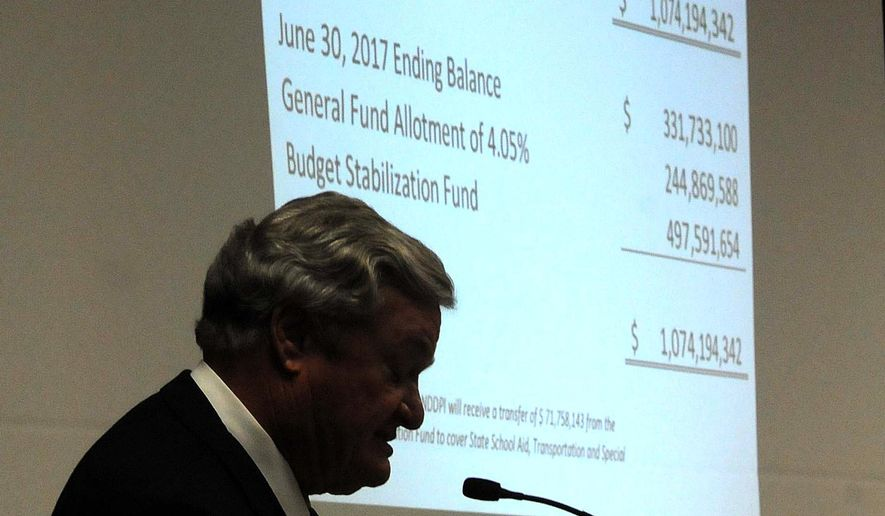 Gov. Jack Dalrymple speaks to directors of state agencies and elected officials about the projected general fund revenue shortfall of more than $1 billion on Monday, Feb. 1, 2016, at the state capitol in Bismarck, N.D. Dalrymple ordered deep cuts to government agencies and a massive raid on state savings to make up for the shortfall due to depressed crude prices and a drop in oil drilling. (Tom Stromme/The Bismarck Tribune via AP) MANDATORY CREDIT
