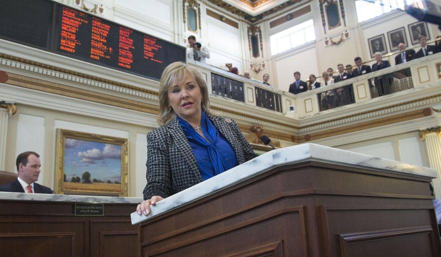 Gov. Mary Fallin proposes increasing the cigarette tax and expanding the sales tax to a variety of services that are currently exempt as a way to close an estimated $900 million hole in next year's budget during her State of the State address, Monday, Feb. 1, 2016 in Oklahoma City. (AP Photo/J Pat Carter)
