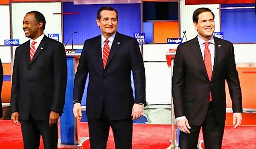 Ben Carson, Sen. Ted Cruz and Sen. Marco Rubio took 60 percent of the vote in the Iowa Republican caucuses. (Associated Press)