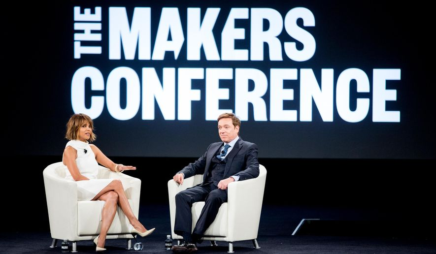 Halle Berry, left, and Kevin Huvane speak at the 2nd Annual MAKERS Conference at Terranea Resort on Tuesday, Feb. 2, 2016, in Rancho Palos Verdes, Calif. (Photo by Rich Fury/Invision/AP)