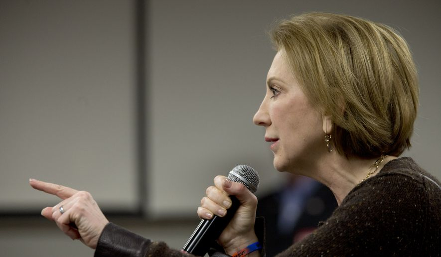 Republican presidential candidate Carly Fiorina speaks during a campaign event at Iowa State University, Saturday, Jan. 30, 2016, in Ames, Iowa. (AP Photo/Mary Altaffer) ** FILE **