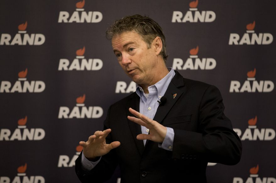 Republican presidential candidate, Sen. Rand Paul, R-Ky., speaks during a rally at the Mid-America Center Saturday, Jan. 30, 2016, in Council Bluffs, Iowa. (AP Photo/Jae C. Hong)