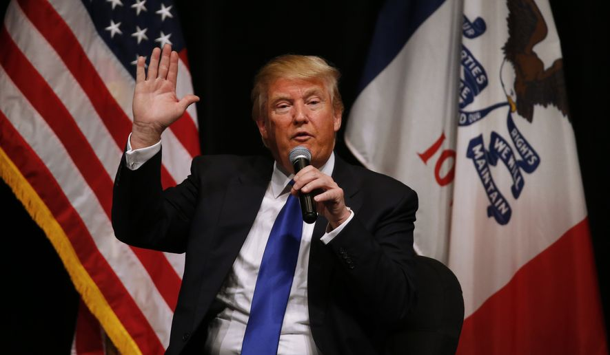 Republican presidential candidate Donald Trump speaks during a campaign event at the Adler Theater, Saturday, Jan. 30, 2016, in Davenport, Iowa. (AP Photo/Paul Sancya) ** FILE **