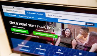 In this Oct. 6, 2015, file photo, the HealthCare.gov website, where people can buy health insurance, is displayed on a laptop screen in Washington. (AP Photo/Andrew Harnik, File)