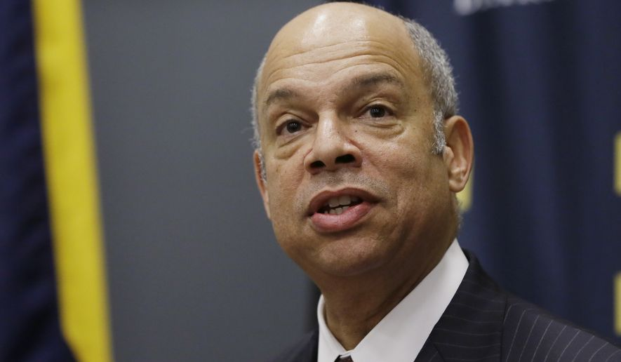 "Homeland Security Secretary Jeh Johnson called the drop ""encouraging,"" but said his department must keep up the pressure on illegal immigrants in order to prevent a relapse. (Associated Press)"