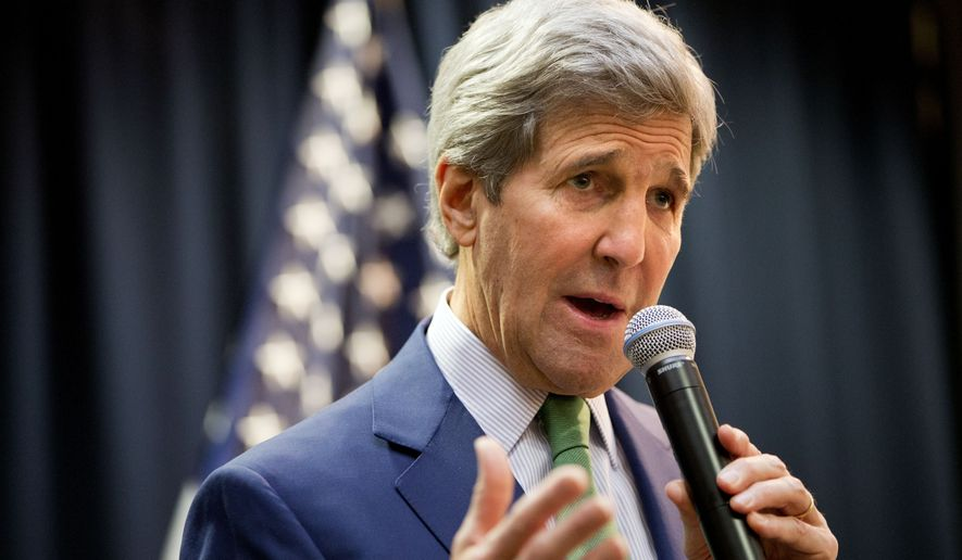 The State Department says Sen. John Kerry used a private email account to send information now deemed classified to then-Secretary of State Hillary Clinton on her personal server. (Associated Press)
